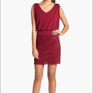 Laundry By Shelli Segal Dresses - New laundry jersey blouson red lace dress 4p